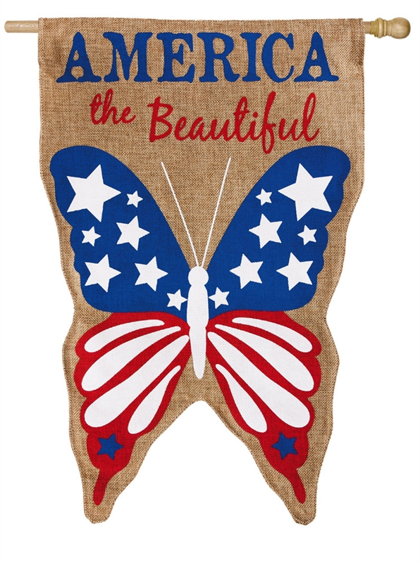 America the Beautifull Burlap Flag