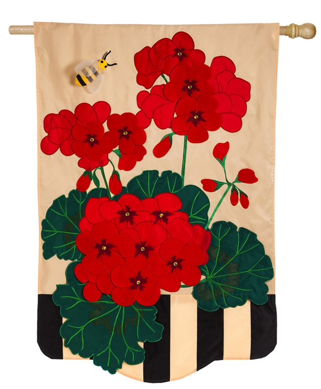Geraniums House Applique Banner