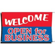 Welcome Open for Business Banner 3 ft x 5 ft